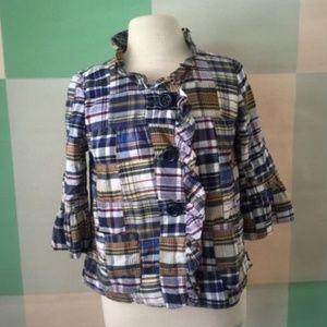 J CREW Classic Madras plaid ruffled jacket Size 4